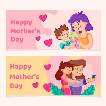 Flat style mother's day banners