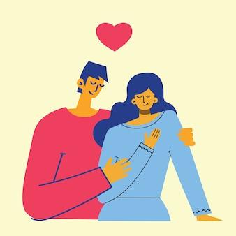 Плоский стиль счастливой пары в любви