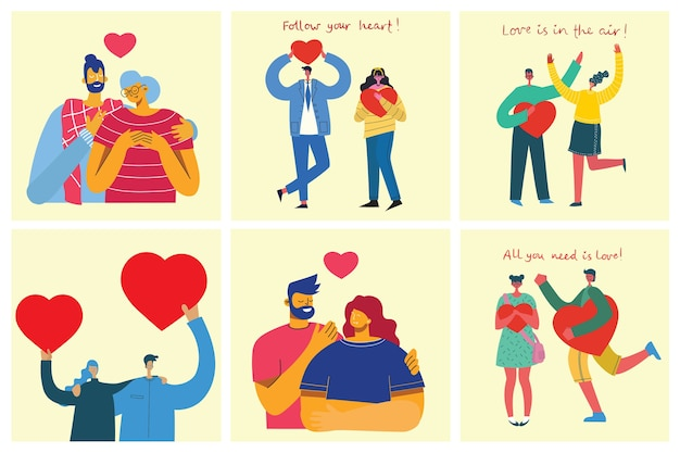 Плоский стиль счастливых влюбленных пар