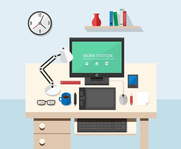 Area di lavoro dell'ufficio in stile piatto. tavolo e computer, lavoro di progettazione e monitor