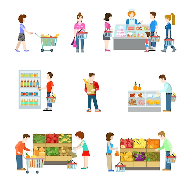 Flat style people figures at shopping mall supermarket grocery shop shelves