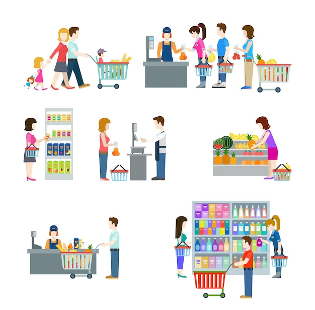 Плоские люди в торговом центре, супермаркете, продуктовом магазине, рисуют значки