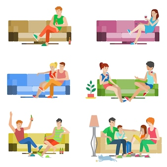 Flat style  people set of young beautiful people sitting on sofa. boy girl couple friends family relax lounge divan wine beer. creative human collection.