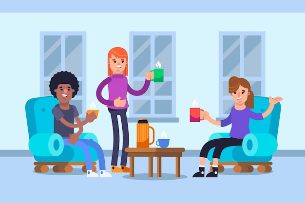 Flat style people with hot drinks
