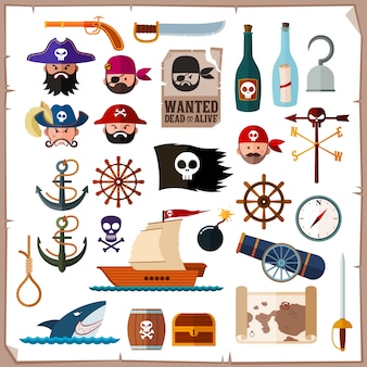 Flat style pirate icon collection