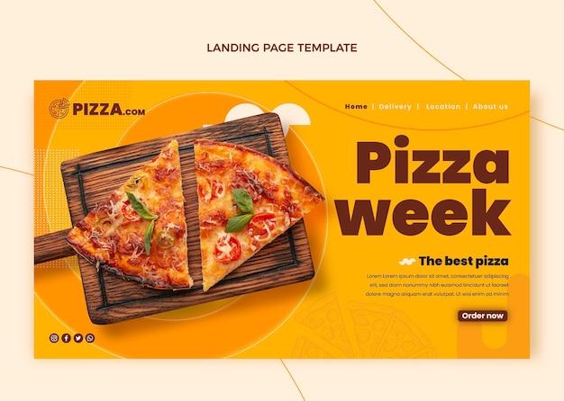 Целевая страница недели пиццы в плоском стиле