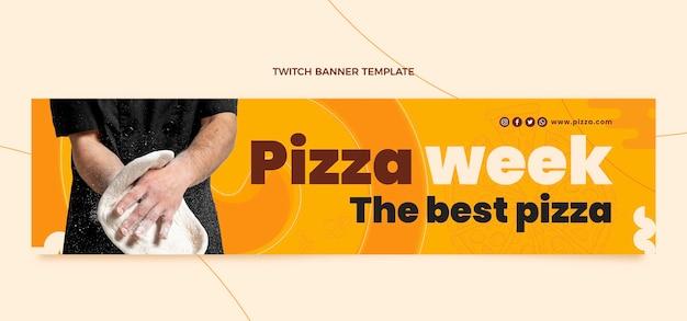 Banner di contrazione della settimana della pizza in stile piatto