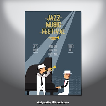 Flat style poster for jazz music festival