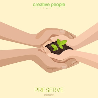 Flat style preserve save nature ecology insurance concept