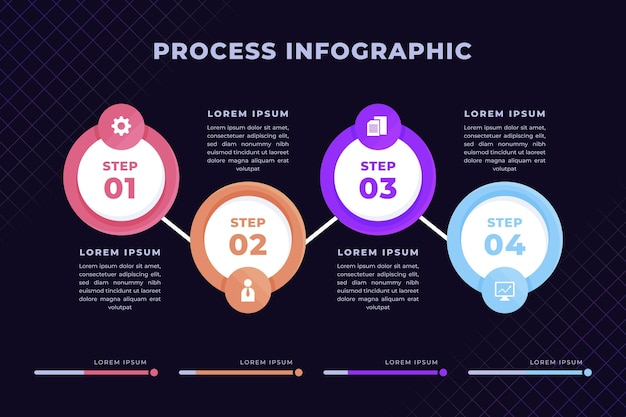 Flat style process infographic