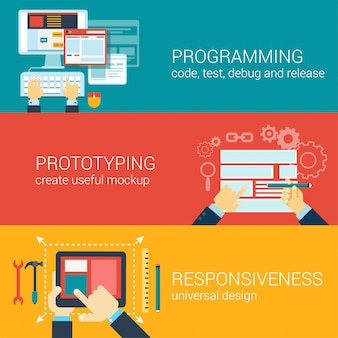 Flat style process programming, prototyping, responsiveness infographic concept.