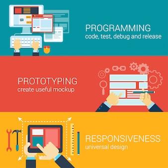 Плоский стиль процесса программирования, прототипирования, отзывчивость инфографики концепции.