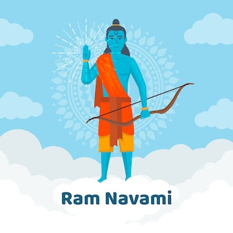 Flat style for ram navami event Free Vector