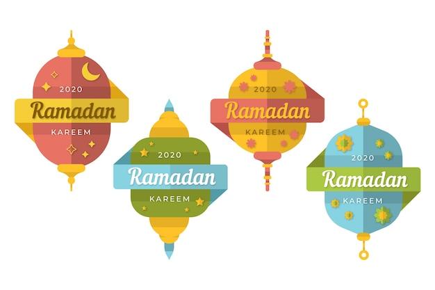 Flat style ramadan badge collection