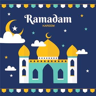 Празднование рамадана в плоском стиле