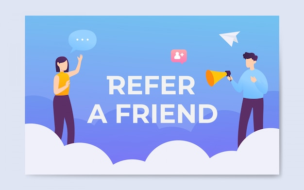Flat style refer a friend word concept landing page illustration
