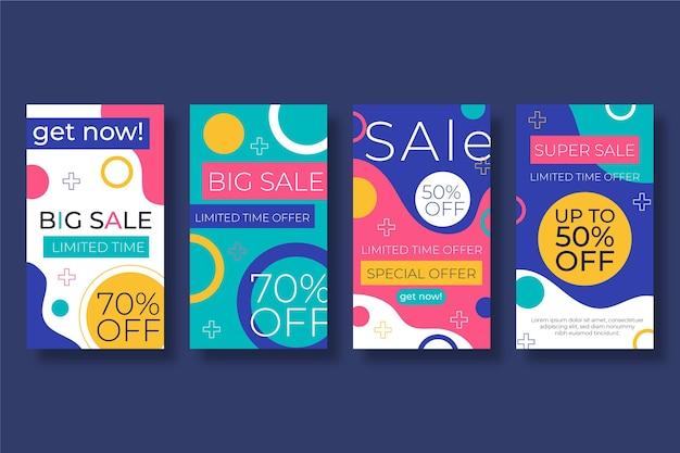 Истории продаж instagram в плоском стиле