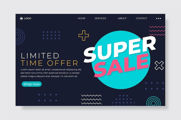 Flat style sales landing page