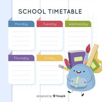 평면 스타일 학교 시간표 템플릿