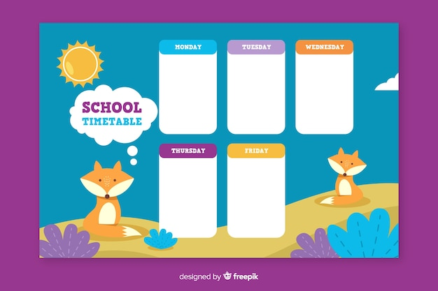 Flat style school timetable template
