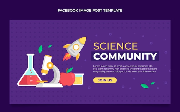 Flat style science facebook post template
