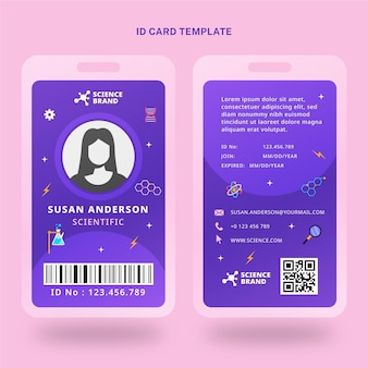 Flat style science id card