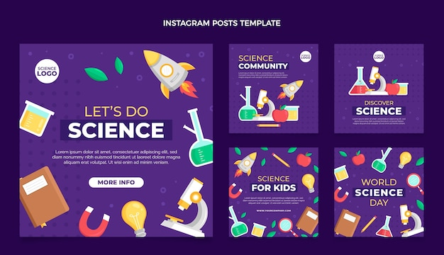 Flat style science instagram post template