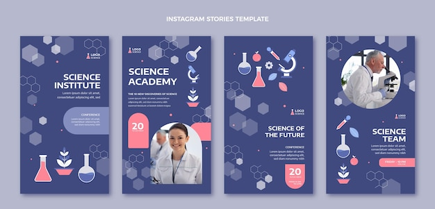 Научные истории instagram в плоском стиле