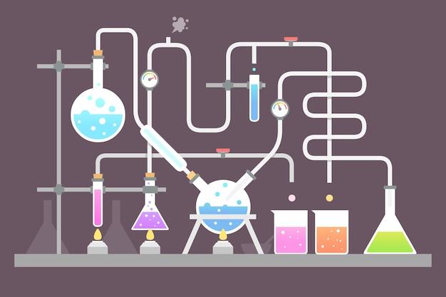 Плоский стиль концепции научной лаборатории