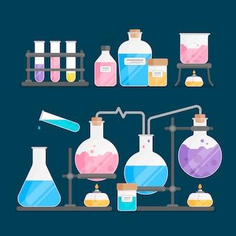 要素を持つフラットスタイルの科学実験室