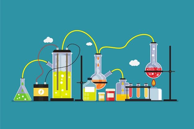 Плоский стиль научной лаборатории