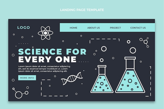 Flat style science landing page template