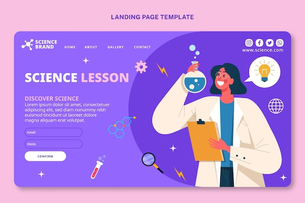 Flat style science landing page