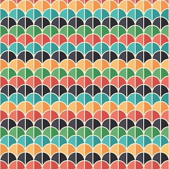 Flat style seamless pattern with colorful semicircles.