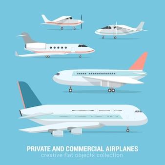 상업 및 개인 비행기의 플랫 스타일 세트 비즈니스 제트 라이트 모터 비행기 중거리 대륙 횡단 항공기 크리 에이 티브 항공 운송 컬렉션
