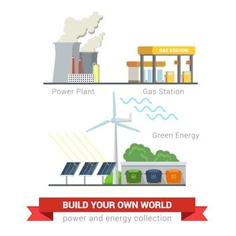 Set stile piatto di icone di concetto di energia verde eco-friendly di potenza. centrale elettrica camino fumoso smog stazione di ricarica gas batteria solare mulino eolico raccolta differenziata. collezione energetica creativa.