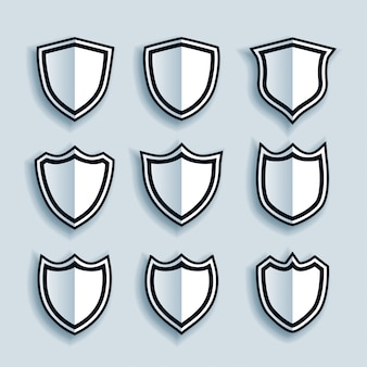 Flat style shield symbols or badges set