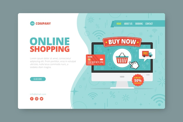 Flat style shopping online landing page
