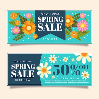 Flat style spring sale banners