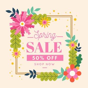 Плоский стиль весенней распродажи с цветами