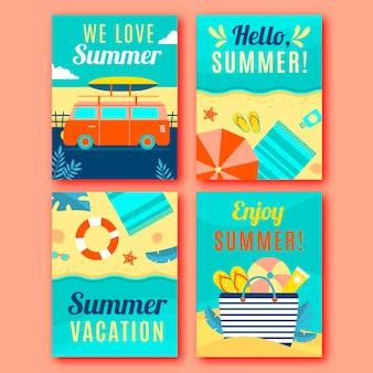 Плоская коллекция летних открыток