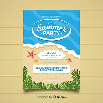 Flat style summer party poster template