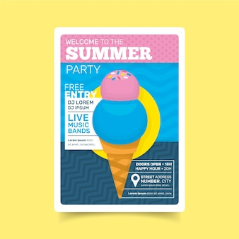 Flat style summer party poster