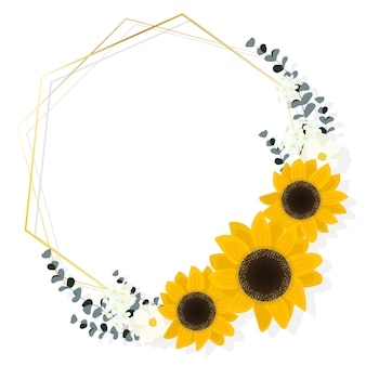Flat style sunflower eucalyptus with golden frame wreath on white