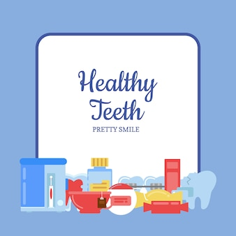 Flat style teeth hygiene icons pile below frame with place for text illustration