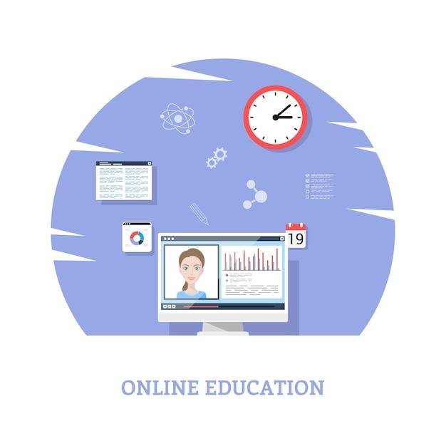 オンラインウェビナー、遠隔教育技術の概念のためのフラットスタイルのテンプレートデザイン