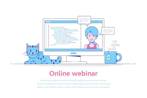 Flat style template design for online webinar