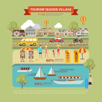 Concetto di infographics di turismo del villaggio di mare tematico stile piano