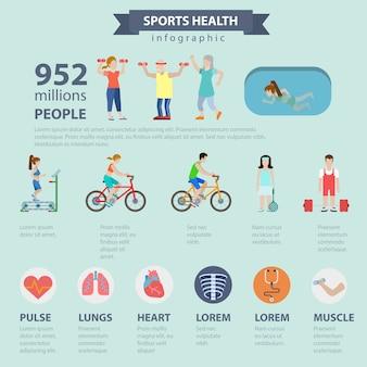 フラットスタイルのテーマ別スポーツ健康インフォグラフィックコンセプト