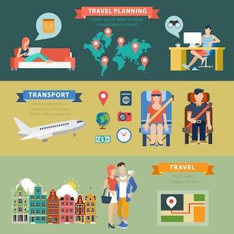 Concetto di infographics di pianificazione della destinazione di vacanza di viaggio tematico di stile piano